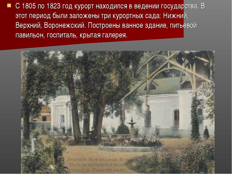 С 1805 по 1823 год курорт находился в ведении государства. В этот период были...