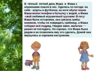 В тёплый летний день Маша и Миша с корзинками пошли в лес. Оделись по погоде: