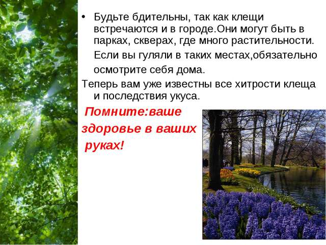 Будьте бдительны, так как клещи встречаются и в городе.Они могут быть в парка...