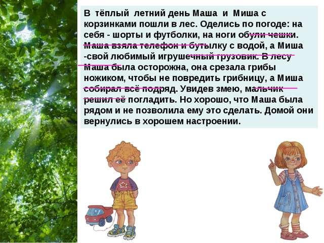 В тёплый летний день Маша и Миша с корзинками пошли в лес. Оделись по погоде:...