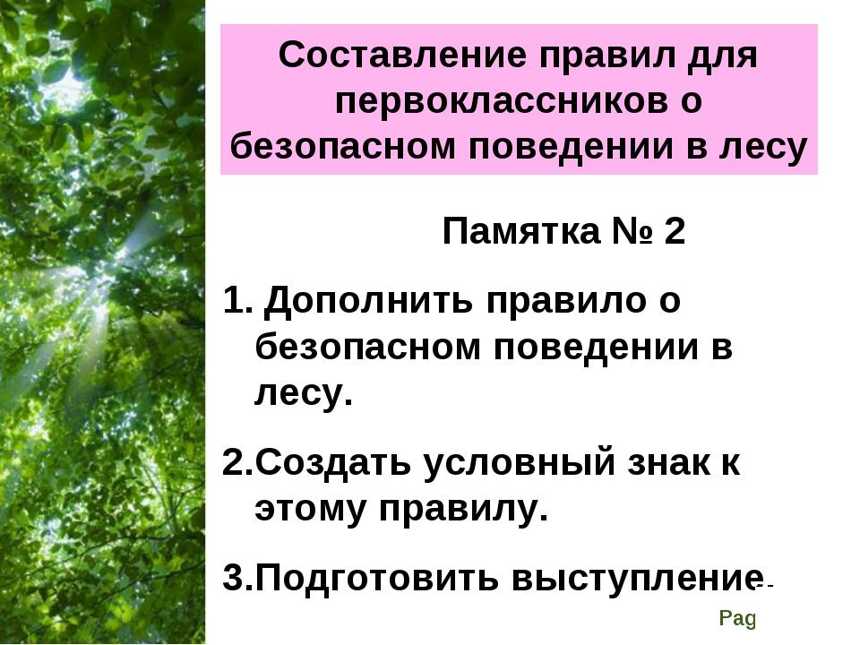 Составление правил для первоклассников о безопасном поведении в лесу Памятка...