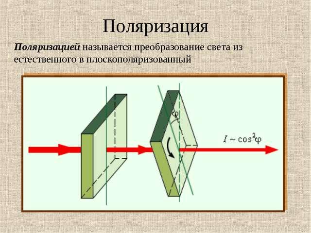 Поляризация Поляризацией называется преобразование света из естественного в п...