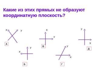 Какие из этих прямых не образуют координатную плоскость? А Б В Г Д Х Х Х Х Х