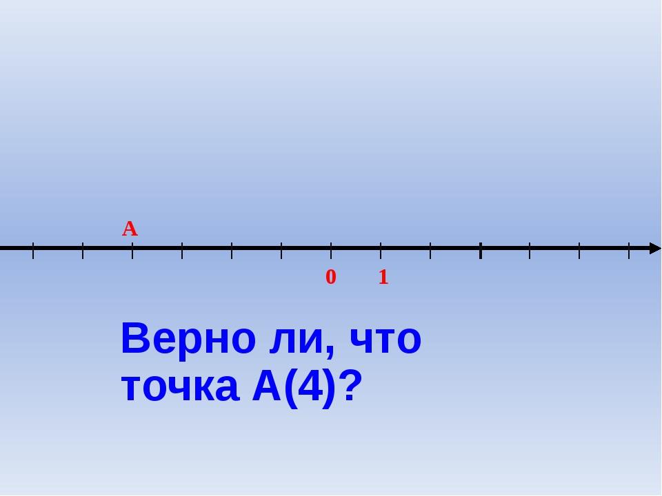 0 1 A Верно ли, что точка А(4)?