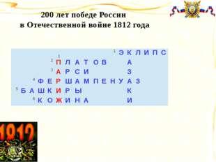 200 лет победе России в Отечественной войне 1812 года 1 1 Э К Л И П С 2 П Л А