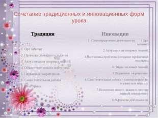 Сочетание традиционных и инновационных форм урока Традиции 1. Орг. момент. 2.