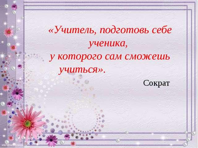 «Учитель, подготовь себе ученика, у которого сам сможешь учиться». Сократ