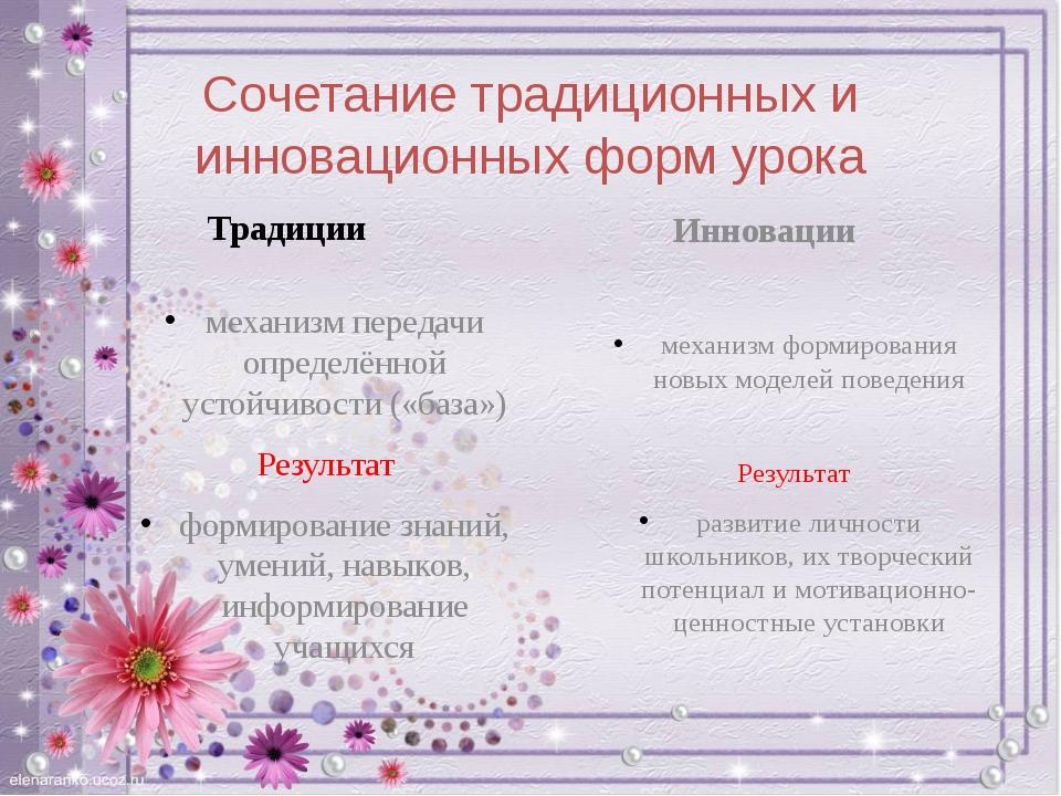 Сочетание традиционных и инновационных форм урока Традиции механизм передачи...
