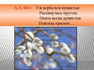 А.А. Фет: Уж верба вся пушистая Раскинулась кругом; Опять весна душистая П