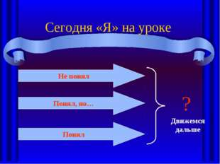 Сегодня «Я» на уроке Не понял Понял, но… Понял Движемся дальше ?