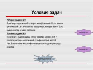 Условия задач Условие задачи №8 В раствор, содержащий сульфат меди(II) массой