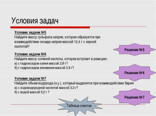 Условия задач Условие задачи №5 Найдите массу сульфата натрия, которая образу