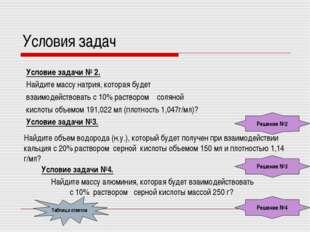 Условия задач Условие задачи № 2. Найдите массу натрия, которая будет взаимод