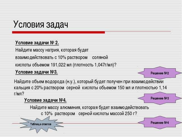 Условия задач Условие задачи № 2. Найдите массу натрия, которая будет взаимод...