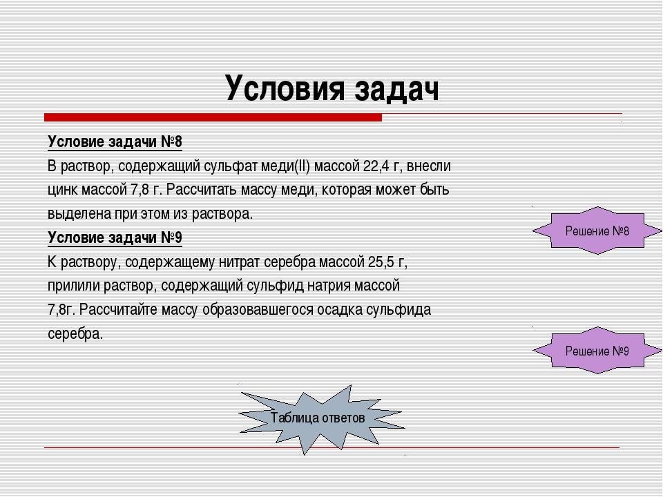 Условия задач Условие задачи №8 В раствор, содержащий сульфат меди(II) массой...