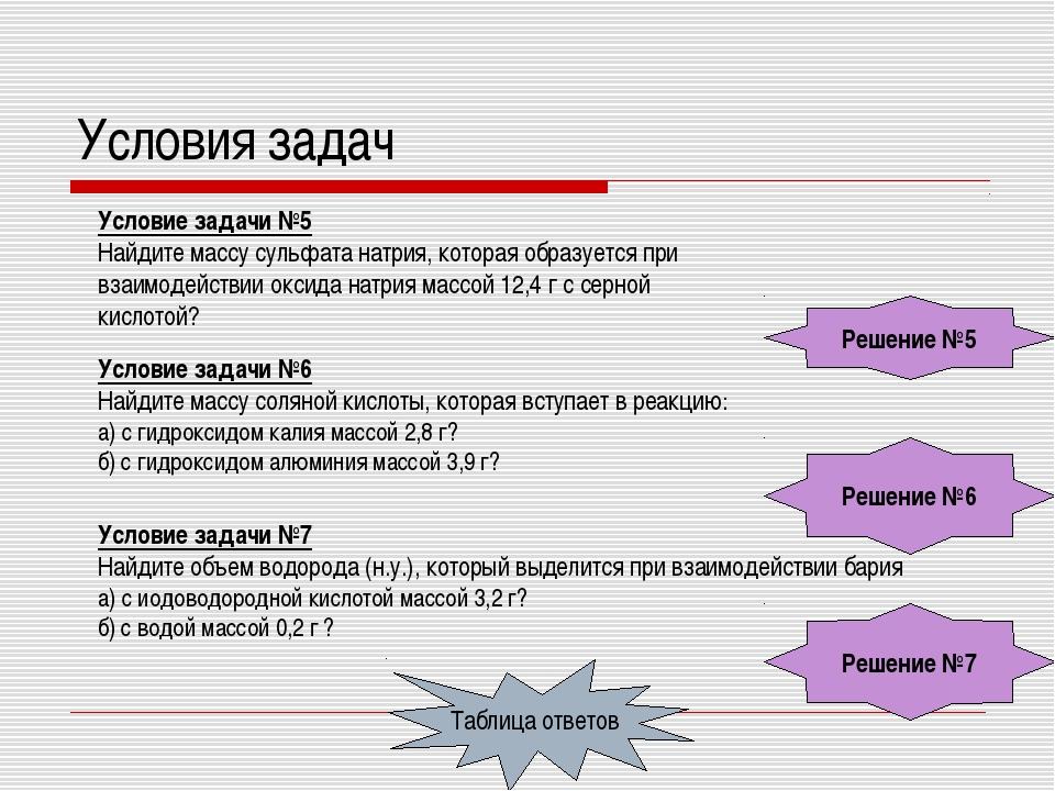 Условия задач Условие задачи №5 Найдите массу сульфата натрия, которая образу...