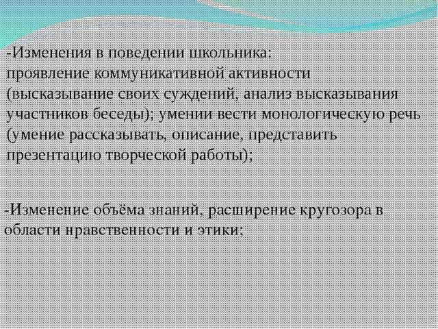 -Изменения в поведении школьника: проявление коммуникативной активности (выск...