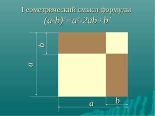 Геометрический смысл формулы (a-b)2=а2-2ab+b2 a b a b