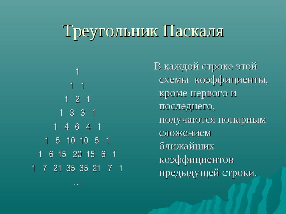 Треугольник Паскаля 1 1 1 1 2 1 1 3 3 1 1 4 6 4 1 1 5 10 10 5 1 1 6 15 20 15...