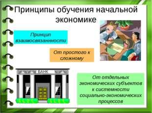 Принципы обучения начальной экономике Принцип взаимосвязаннности От простого