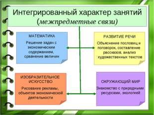 Интегрированный характер занятий (межпредметные связи) МАТЕМАТИКА Решение зад