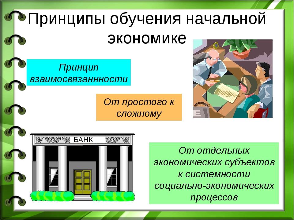 Принципы обучения начальной экономике Принцип взаимосвязаннности От простого...