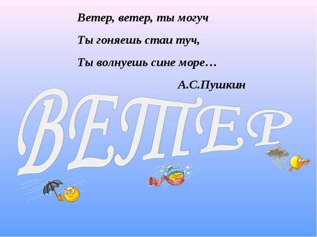 Ветер, ветер, ты могуч Ты гоняешь стаи туч, Ты волнуешь сине море… А.С.Пушкин