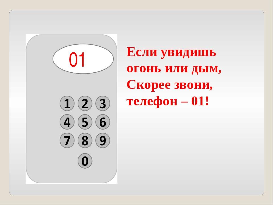 Если увидишь огонь или дым, Скорее звони, телефон – 01! 01