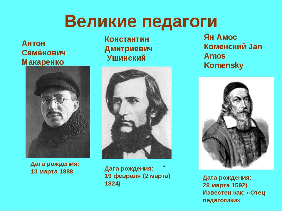 Великие педагоги Дата рождения: 13марта 1888 Антон Семёнович Макаренко Конст...