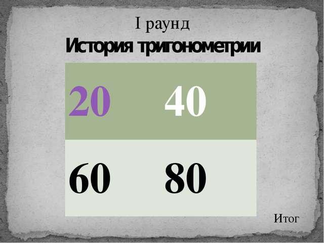 I раунд История тригонометрии Итог 20 40 60 80