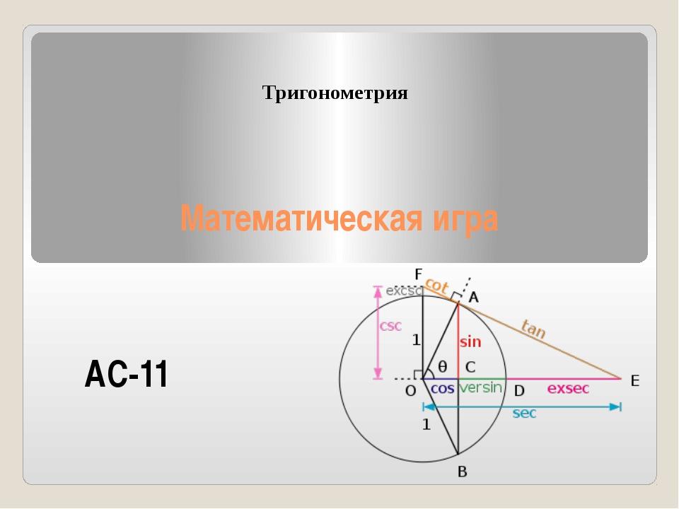 Математическая игра Тригонометрия АС-11