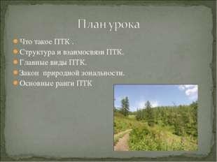 Что такое ПТК . Структура и взаимосвязи ПТК. Главные виды ПТК. Закон природно
