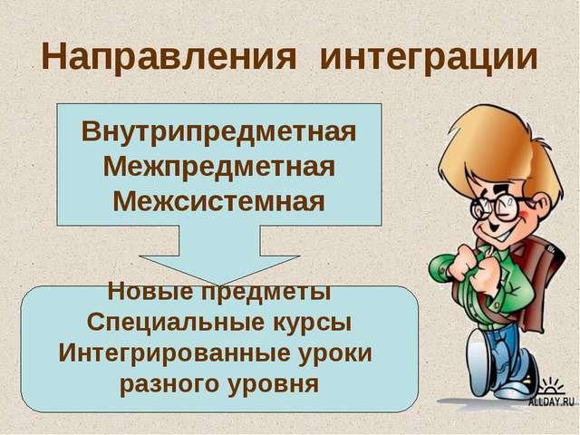 Направления интеграции Внутрипредметная Межпредметная Межсистемная Новые пред...