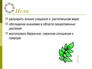 Цели: расширить знания учащихся о растительном мире; обогащение знаниями в о