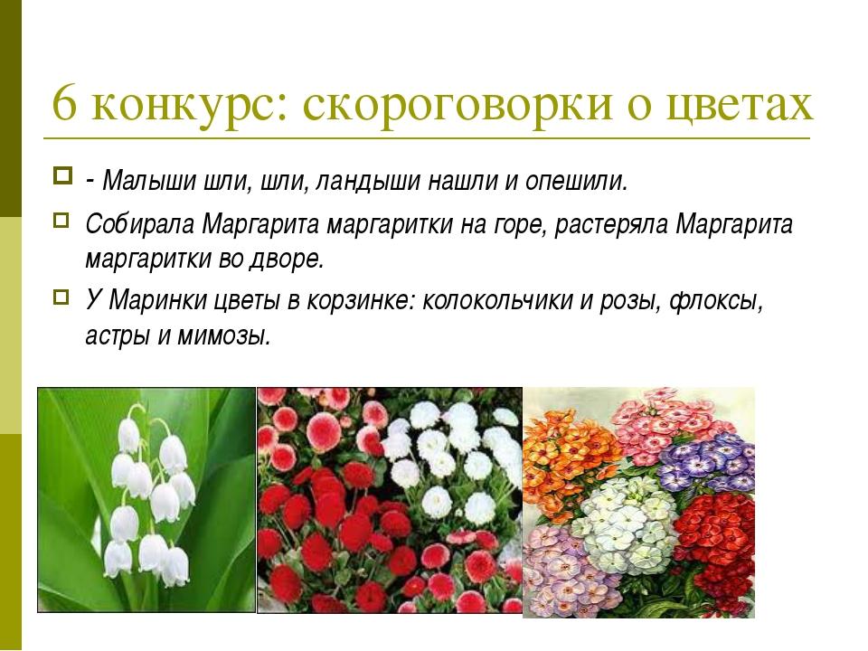 6 конкурс: скороговорки о цветах - Малыши шли, шли, ландыши нашли и опешили....