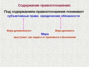 Содержание правоотношения: Под содержанием правоотношения понимают субъективн
