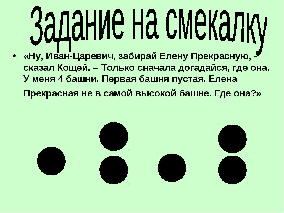 «Ну, Иван-Царевич, забирай Елену Прекрасную, - сказал Кощей. – Только сначала...