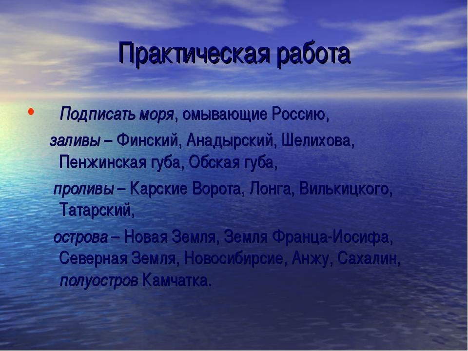 Практическая работа Подписать моря, омывающие Россию, заливы – Финский, Анады...