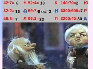 6 16 7 13 8 ОСТ 3 32 2 7 80 О Н А 42:7= Н 52:4= К 140:70= Ю 32:2= О 59:7= Н 6