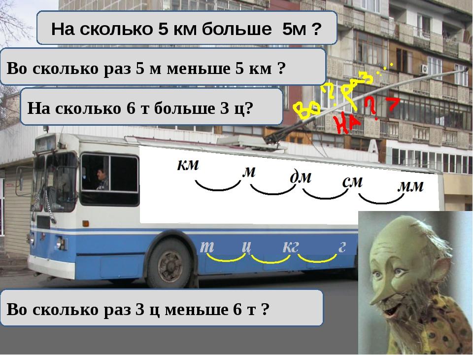 На сколько 5 км больше 5м ? Во сколько раз 5 м меньше 5 км ? На сколько 6 т...