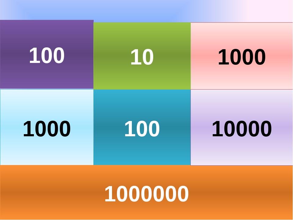 100 1000 100 1000000 10000 1000 10
