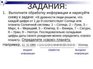 ЗАДАНИЯ: 1. Выполните обработку информации и нарисуйте схему к задаче: «В дре