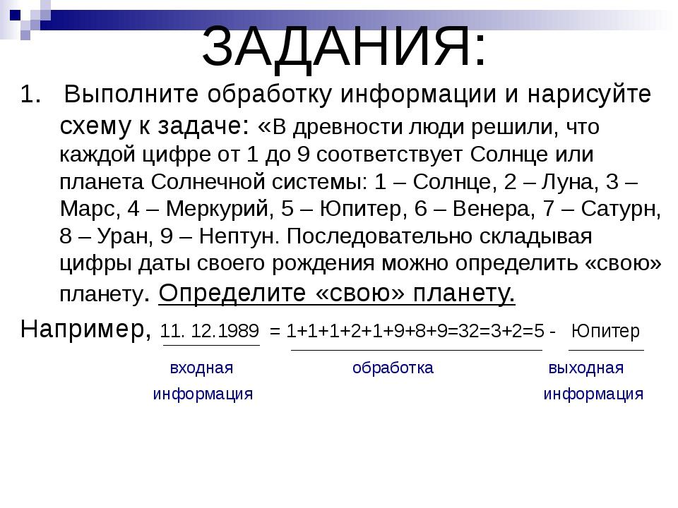 ЗАДАНИЯ: 1. Выполните обработку информации и нарисуйте схему к задаче: «В дре...