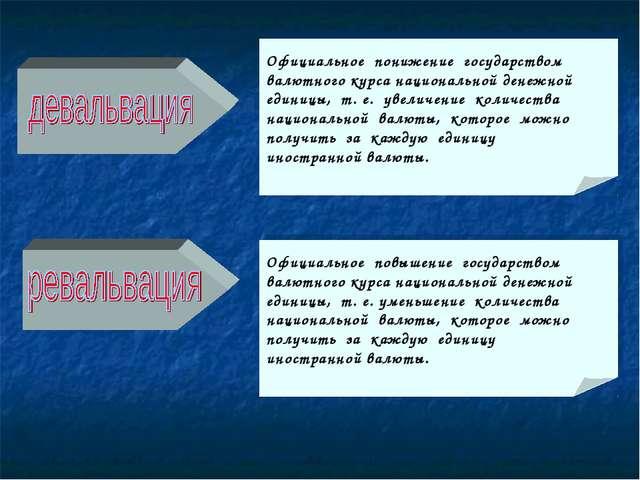 Официальное понижение государством валютного курса национальной денежной един...