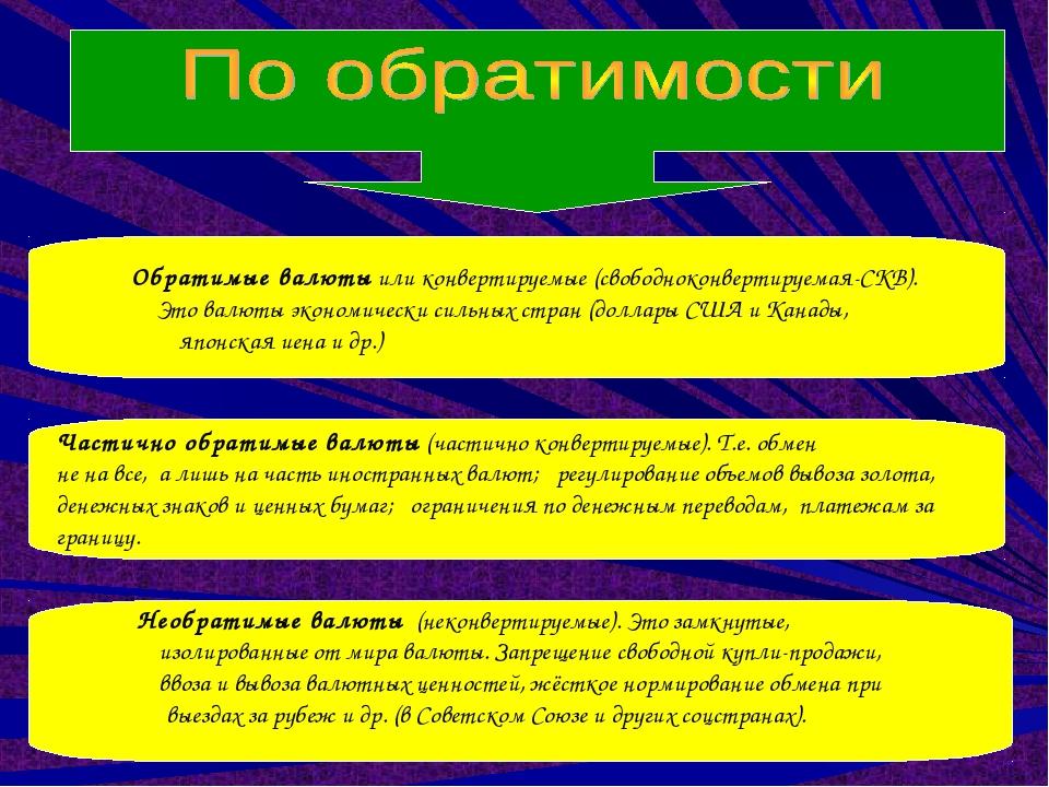 Обратимые валюты или конвертируемые (свободноконвертируемая-СКВ). Это валюты...