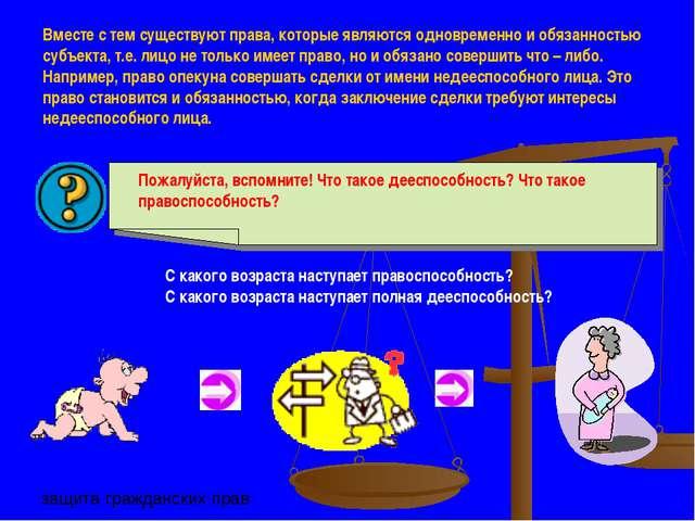 Вместе с тем существуют права, которые являются одновременно и обязанностью с...
