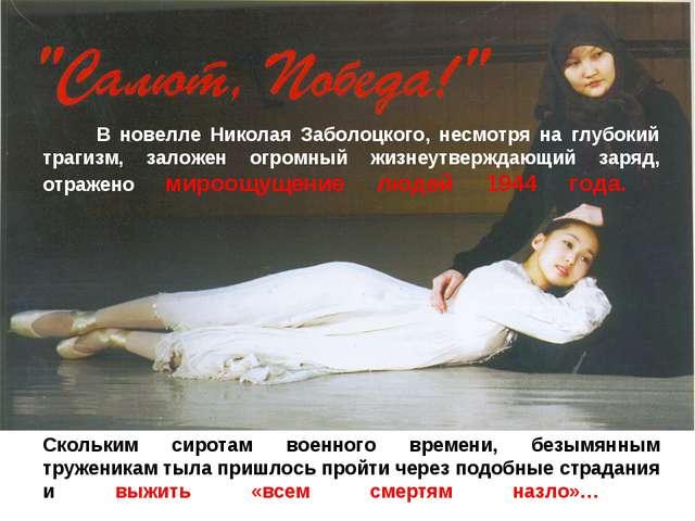 В новелле Николая Заболоцкого, несмотря на глубокий трагизм, заложен огромны...