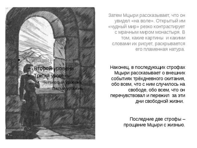 Затем Мцыри рассказывает, что он увидел «на воле». Открытый им «чудный мир» р...