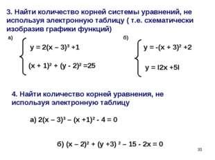 * 3. Найти количество корней системы уравнений, не используя электронную табл