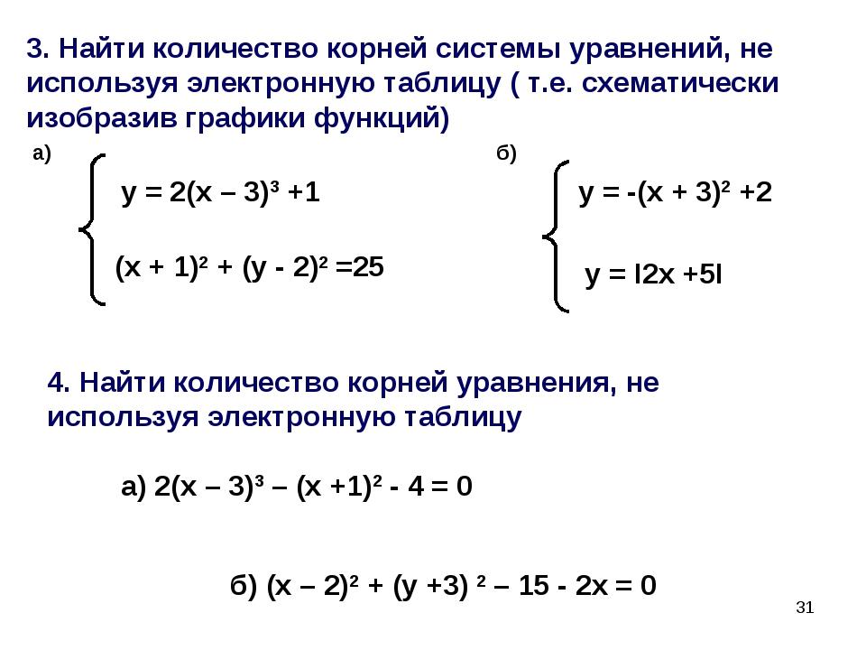 * 3. Найти количество корней системы уравнений, не используя электронную табл...